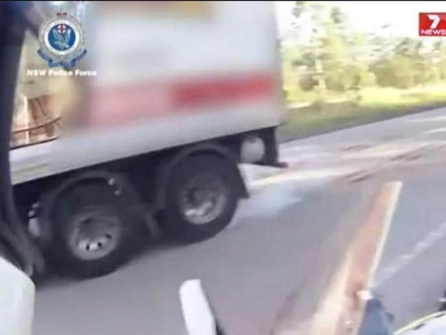 The truck driver loses control as they try to slow down. Picture: 7 News