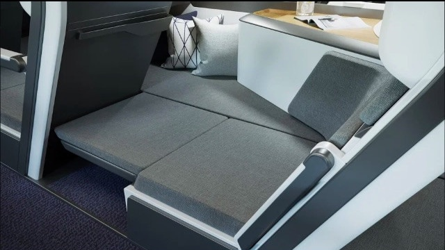 They can then fold out a padded section where the footwell is, and it links their seat to the space on the side. Picture: Zephyr Aerospace