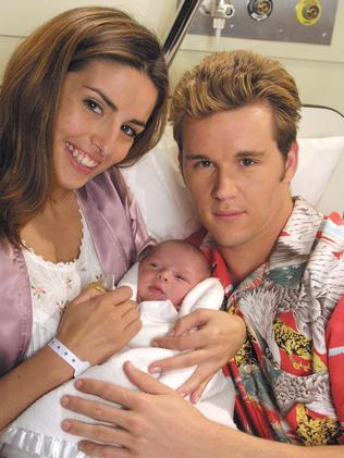 Ada Nicodemou and Ryan Kwanten with their Home And Away baby.
