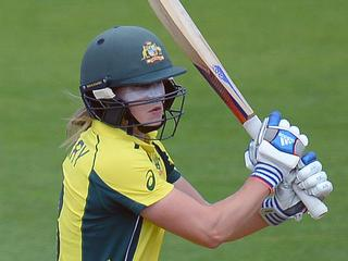 Supplied image of Ellyse Perry of Australia plays a shot during the ICC Women's World Cup 2017 match between Australia and England at The County Ground in Bristol, England, Wednesday, July 12, 2017. (AAP Image/International Cricket Council) NO ARCHIVING, EDITORIAL USE ONLY