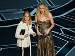 Jodie Foster and Jennifer Lawrence speak onstage during the 90th Annual Academy Awards at the Dolby Theatre on March 4, 2018 in Hollywood, California. Picture: Getty