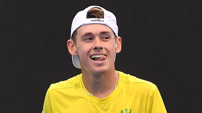 Australian Alex de Minaur during a practice session at Pat Rafter Arena.