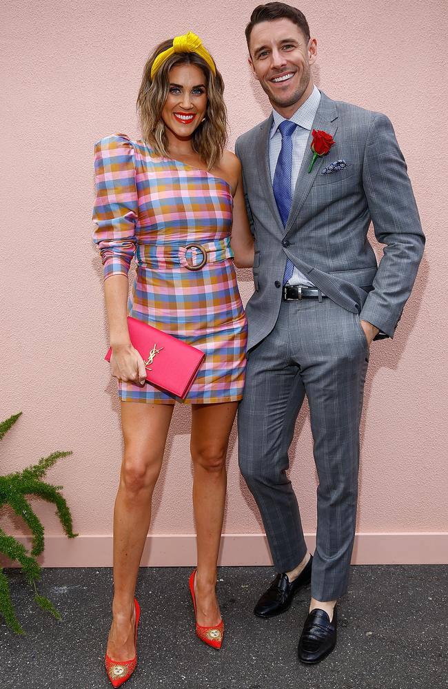 Georgia Love and Lee Elliott pose on Stakes Day at Flemington Racecourse on November 10, 2018 in Melbourne, Australia. Picture: Sam Tabone