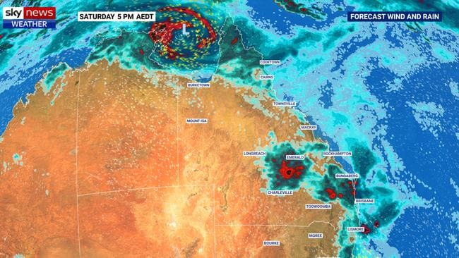 On the weekend, storms are likely to continue over parts of the east coast with a possible cyclone in the Gulf of Carpentaria. Picture: Sky News Weather