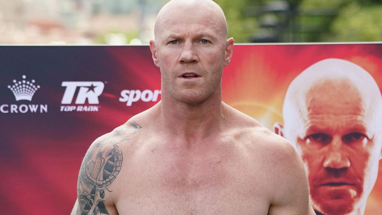 Barry Hall looks on during an official weigh-in at Crown Riverwalk in Melbourne, Thursday, November 14, 2019. Former AFL player Barry Hall will take on former NRL Cronulla Sharks captain Paul Gallen in a boxing match on Friday, November 15 at Margaret Court Arena. (AAP Image/Scott Barbour) NO ARCHIVING