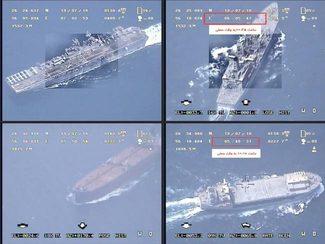 "Iran's Revolutionary Guards released a video claiming it belies the claim that the USS Boxer had downed an Iranian drone. The footage seems to be shot from a high altitude and shows a convoy of ships passing through, and according to the IRGC shows ""tracking (of) the helicopter-carrier (Boxer) LHD-4 in the Strait of Hormuz"". Picture: AFP"