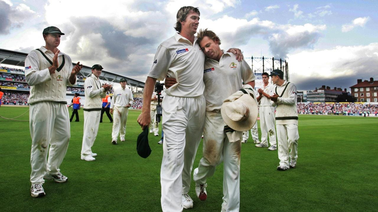 Glenn McGrath and Shane Warne leave the field for the last time in an Ashes in England.