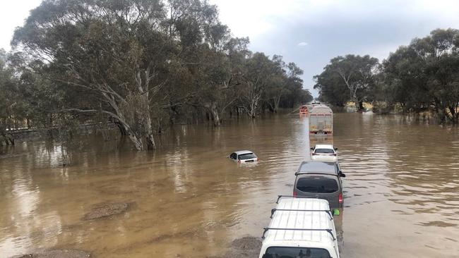 Flash flooding has left the Hume Fwy under water. Picture: Taylor McPhail