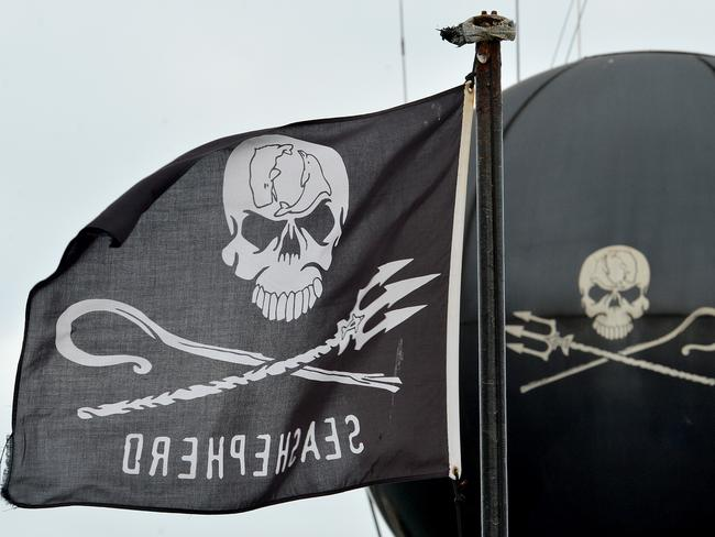 The Sea Shepherd's skull and crossbones. Picture: Adam Elwood