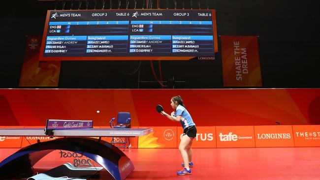Eleven year old Anna Hursey of Wales trains at the table tennis venue on the Gold Coast. Picture: Getty Images