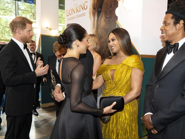 Prince Harry and Meghan, Duchess of Sussex meet Beyoncé and her husband, US rapper Jay-Z at the European premiere of the film The Lion King. Picture: AFP