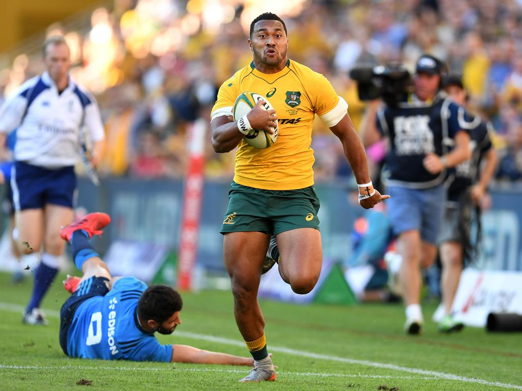 Sefa Naivalu of the Australian Wallabies runs to score a try during the Test match between the Australian Wallabies and the Italian Azzurri at Suncorp Stadium in Brisbane, Saturday, June 24, 2017. (AAP Image/Dan Peled) NO ARCHIVING, EDITORIAL USE ONLY