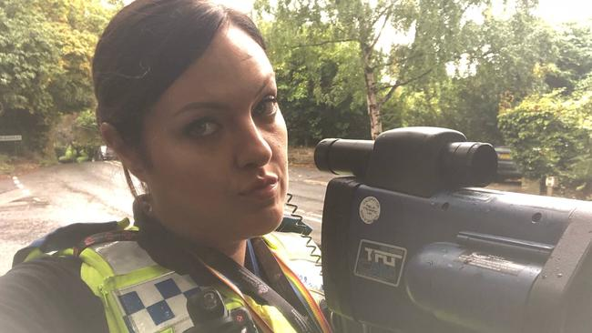 """Many residents say her snaps are """"unprofessional"""". Picture: Facebook @Prestbury & Alderley Edge Police"""