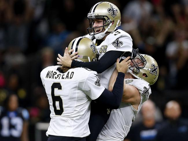 Will Lutz #3 of the New Orleans Saints celebrates after kicking the game winning field goal.