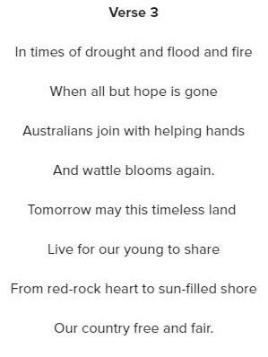 Mr Vickery has rewritten the third verse of the anthem, finishing the verse with 'Beneath the Southern Cross we sing, Advance Australia Fair'. Picture: Supplied