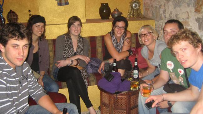 Britt Lapthorne (third from right) with her friend Krys Noseworthy (left of Britt) and others in Croatia.