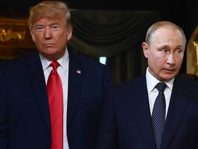 US President Donald Trump (L) reportedly wanted to give Russian President Vladimir Putin a $50 million penthouse in Trump Tower Moscow. Picture: AFP