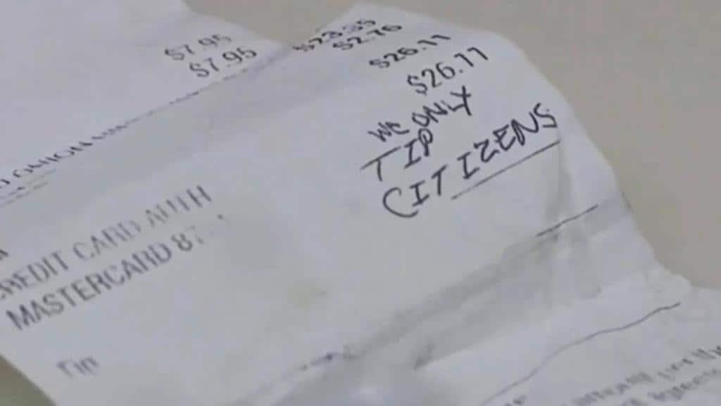 Teen waitress receives racist message on receipt