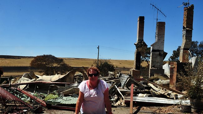 Julie Nunn stands by their outdoor setting that was not touched by the fire but their Carngham home of 33 years was destroyed along with their cattle stock on their Carngham property. Picture: Nicole Garmston
