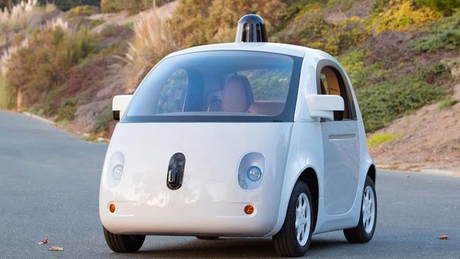 Ready to go ... the first fully functional Google self-driving car, complete with real headlights and blinkers.