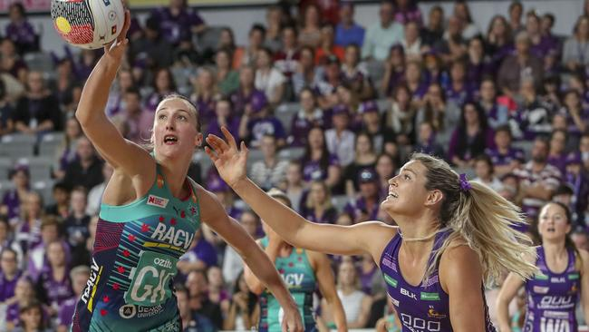 Emily Mannix, left, snared 45 intercepts in defence for the Vixens this season. Picture: AAP
