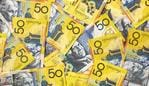 Background of Australian fifty dollar bills. Full-frame. generic money, notes, cash.