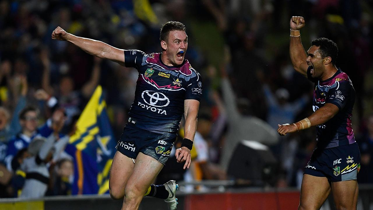 TOWNSVILLE, AUSTRALIA — AUGUST 09: Coen Hess of the Cowboys celebrates after scoring a try during the round 22 NRL match between the North Queensland Cowboys and the Brisbane Broncos at 1300SMILES Stadium on August 9, 2018 in Townsville, Australia. (Photo by Ian Hitchcock/Getty Images)