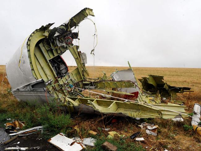 The crash site was littered with personal items from the flight's civilian passengers. Picture: AFP/Alexander Khudoteply