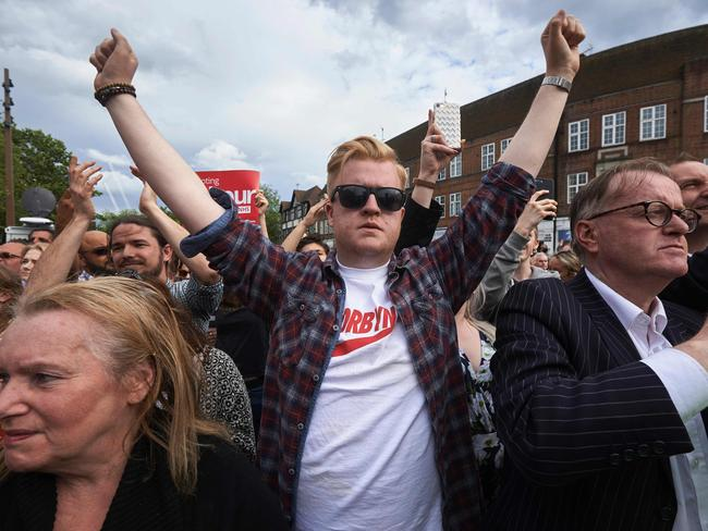 A supporter of Jeremy Corbyn gestures during a rally in Watford on June 7. Picture: Niklas Hallen/AFP