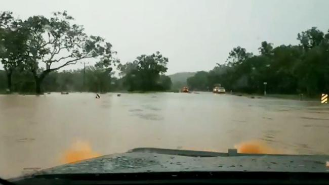 Dash cam footage shows one of the stretches of road that was flooded between Corroboree and Mount Bundy. Picture: Valentin Martinez