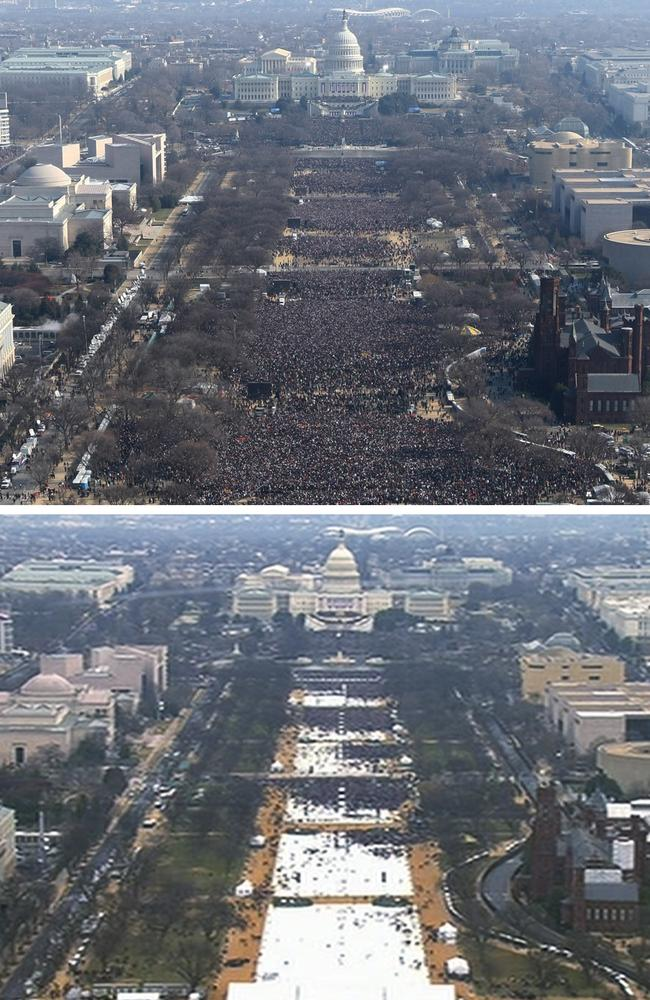 Former US President Barack Obama's 2009 inauguration at the top, versus President Donald Trump's 2017 crowd in the picture below. Photo: AP