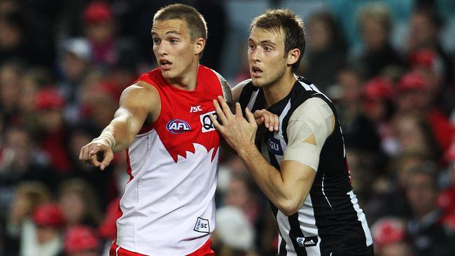 Sam Reid and Ben Reid face each other for Sydney and Collingwood. Picture: Phil Hillyard