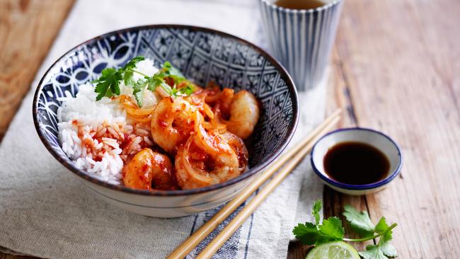 Poh's Sweet and Sour Prawns with Rice.