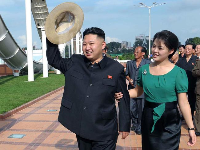 One of the first publicly released photos of Kim Jong Un with his wife Ri Sol Ju. Picture: KCNA