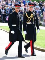Prince Harry and Prince William, Duke of Cambridge arrive at St George's Chapel at Windsor Castle before the wedding of Prince Harry to Meghan Markle on May 19, 2018 in Windsor, England. Credit: Ian West- WPA Pool/Getty Images)