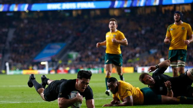 Nehe Milner-Skudder of New Zealand scores the first try of the 2015 Rugby World Cup final.