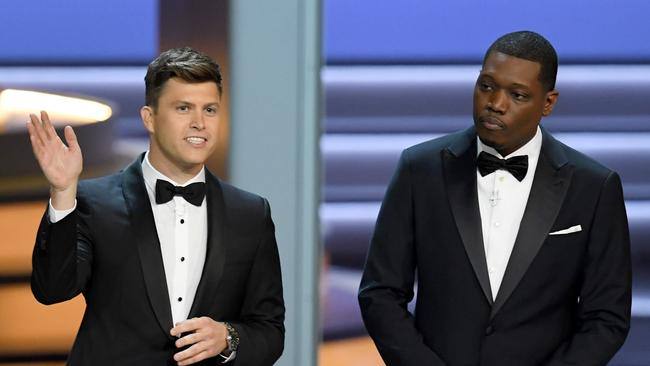 Colin Jost (L) and Michael Che. Picture: Getty Images/AFP