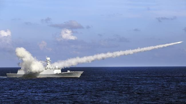 A Chinese frigate conducts exercises in July 2016 in the South China Sea. Picture: Xinhua (FILE)