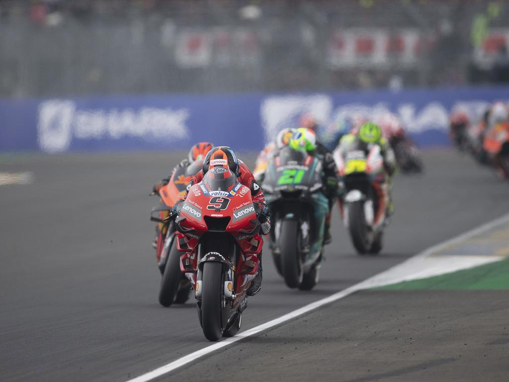 LE MANS, FRANCE - MAY 19: Danilo Petrucci of Italy and Ducati Team  leads the field during the MotoGP race during the MotoGp of France - Race on May 19, 2019 in Le Mans, France. (Photo by Mirco Lazzari gp/Getty Images)