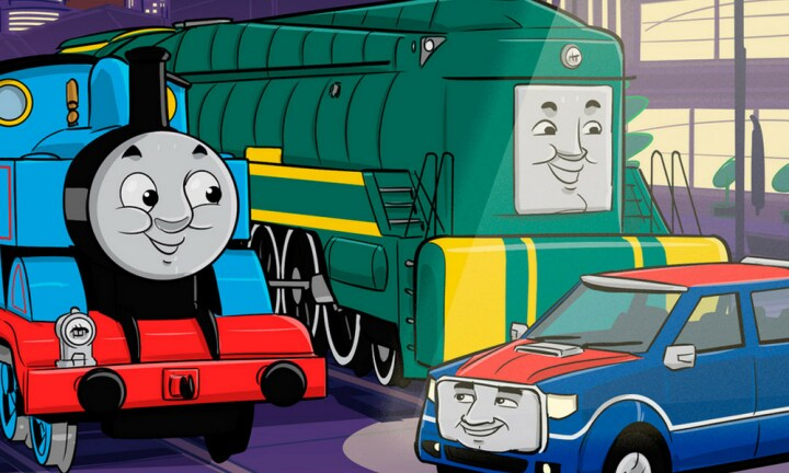 Thomas the Tank Engine says 'Gday' to a new Aussie friend