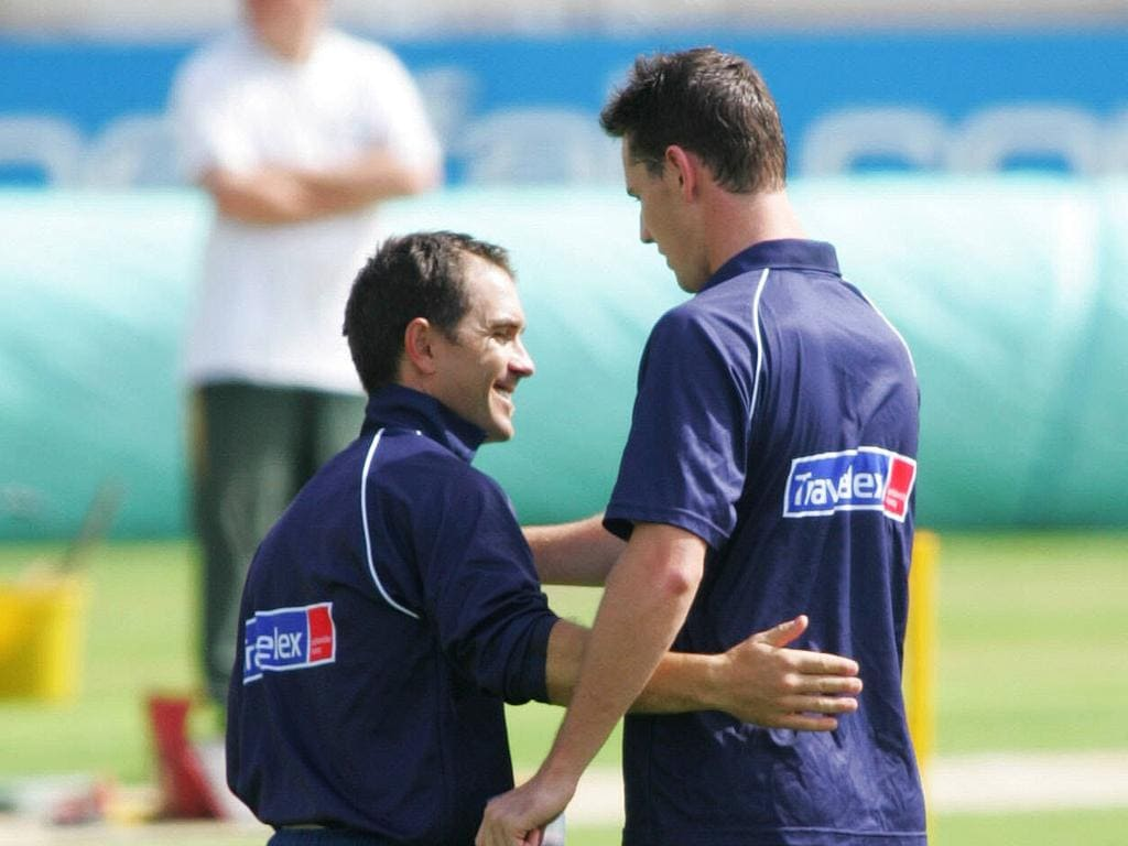Justin Langer and Shaun Tait made up after the net session.
