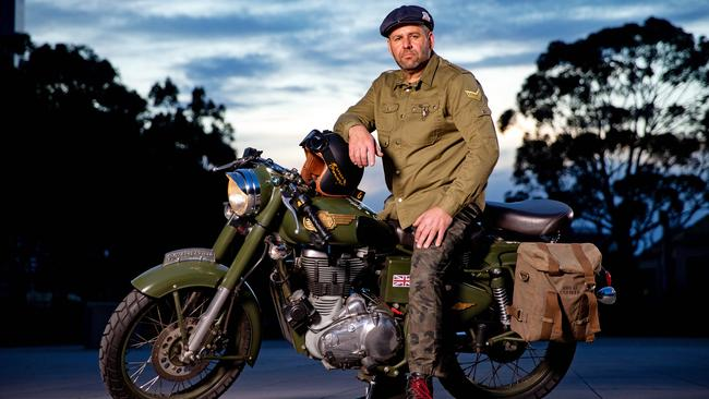 Michael Capraro with his Royal Enfield. Picture: Mark Stewart