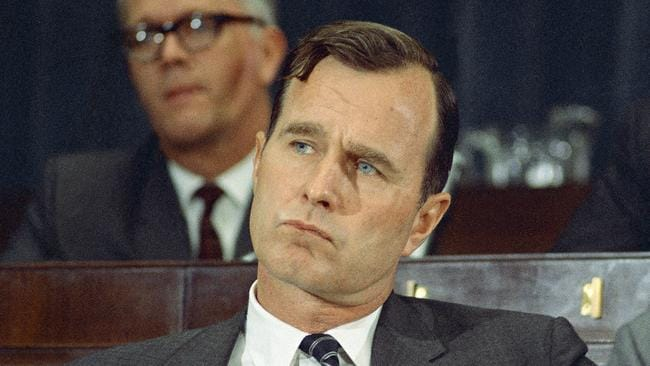 March 1968: George H.W. Bush appears in Washington. Picture: AP