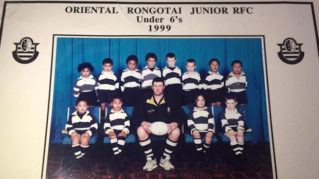 A two-year-old Jordan Uelese (top left) with teammate Ardie Savea (bottom row, second from left).
