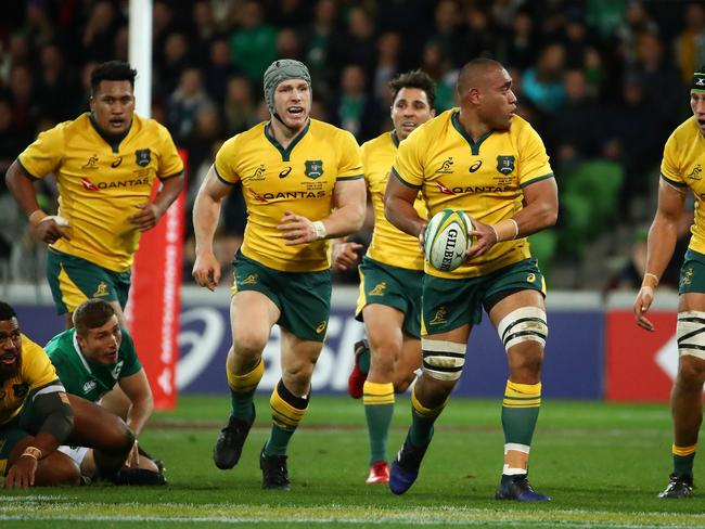 Wallabies backrower Caleb Timu runs with the ball. Pic: Getty