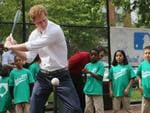 Prince Harry prepares to hit a baseball while participating in drills at the Harlem RBI baseball youth development program during the fifth day of his visit to the United States on May 14, 2013 in New York City. Picture: Getty