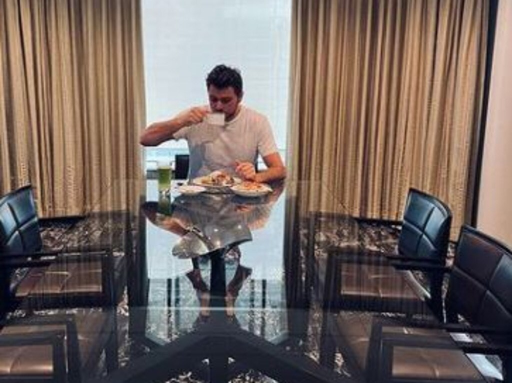 Swiss tennis player Stanislas Wawrinka showing him at breakfast in his Melbourne hotel room on Sunday, January 17, 2021. Wawrinka is self-isolating ahead of the Australian Open. Picture: Instagram @stanwawrinka85