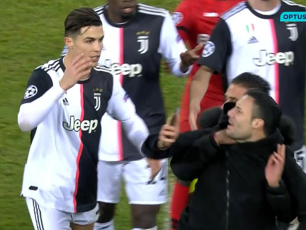 Ronaldo rages at the pitch invader.