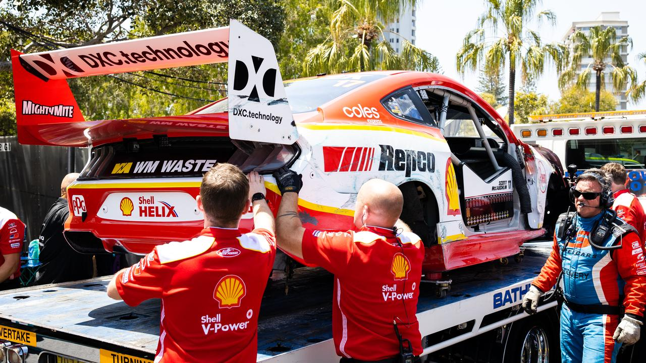 The car of Scott McLaughlin is returned to the pits. Picture: Daniel Kalisz