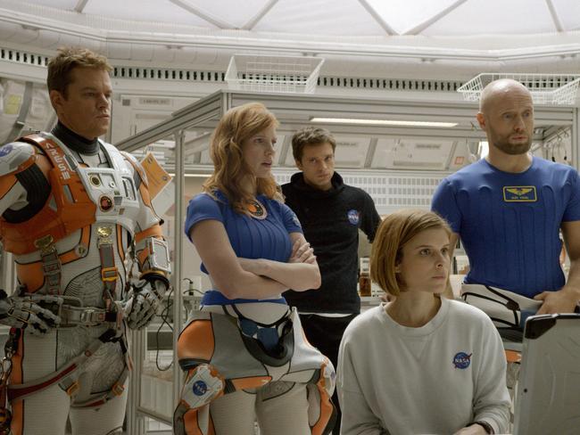 The crew ... Matt Damon, Jessica Chastain, Sebastian Stan, Kate Mara, and Aksel Hennie in The Martian.